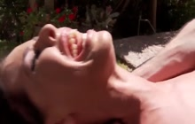 Outdoor massage and facial for Brandy Aniston