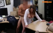 Big tit business babe sucks and fucks in POV