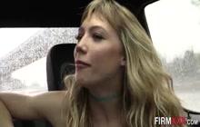 Blonde babe swallows cum after sucking
